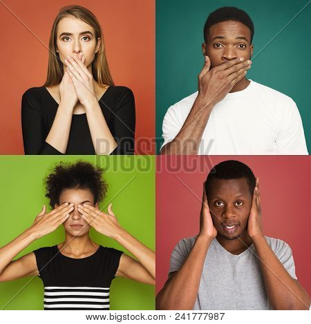 Set Of Diverse Male And Female Portraits Gesturing See, Hear And Speak No Evil. Collage Of Young Peo