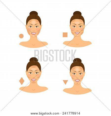 Cartoon Face Type Contouring Tutorial Icon Set Variation Correction Proportion Highlight Beauty Girl