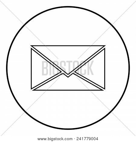 Letter Icon Outline In Circle Black Color Vector Illustration Simple Image Flat Style