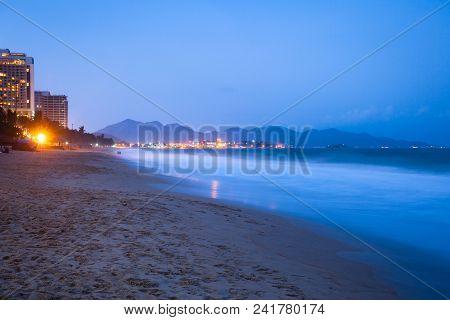 Nha Trang Beach At Night, Vietnam