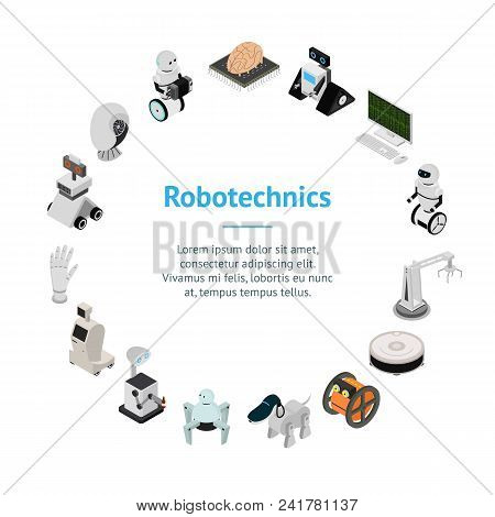 Smart Technologies Devices Banner Card Circle Innovation Futuristic System Equipment Ai, Robot And A