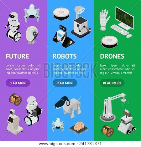 Smart Technologies Devices Banner Vecrtical Set Isometric View Innovation Futuristic System Equipmen