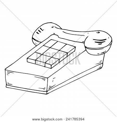 Stationary Push-button Phone. Retro Phone. Vector Illustration Of A Stationary Push-button Telephone