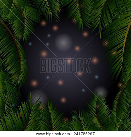 Summer Night Sky With Glowing Stars In A Tropical Palm Trees Frame