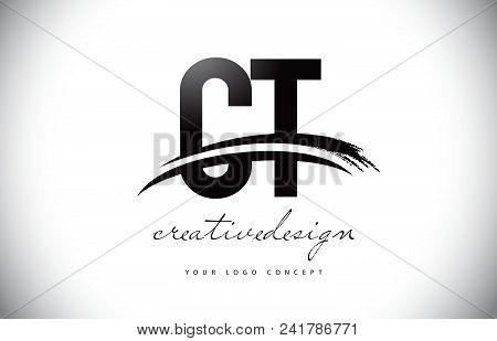 Ct C T Letter Logo Design With Swoosh And Black Brush Stroke. Modern Creative Brush Stroke Letters V