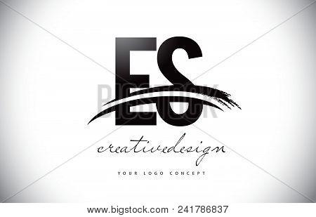 Es E S Letter Logo Design With Swoosh And Black Brush Stroke. Modern Creative Brush Stroke Letters V