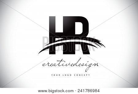 Hr H R Letter Logo Design With Swoosh And Black Brush Stroke. Modern Creative Brush Stroke Letters V