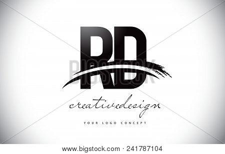 Rd R D Letter Logo Design With Swoosh And Black Brush Stroke. Modern Creative Brush Stroke Letters V