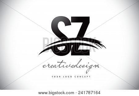 Sz S Z Letter Logo Design With Swoosh And Black Brush Stroke. Modern Creative Brush Stroke Letters V