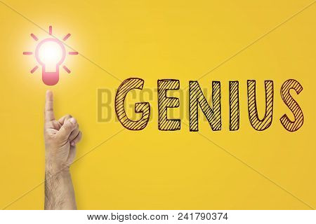 Idea And Innovation Concept. Genius Inscription. Finger Up To Light Bulb.