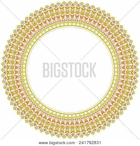 Oriental Vector Pattern With Arabesques And Floral Elements. Traditional Classic Colored Round Ornam