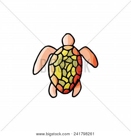 Turtle Icon In Cartoon Style. For Web, Print And Creative Design. Vector Illustration