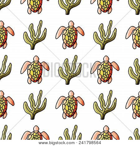 Turtle Seamless Pattern In Cartoon Style. For Web, Print And Creative Design. Vector Illustration