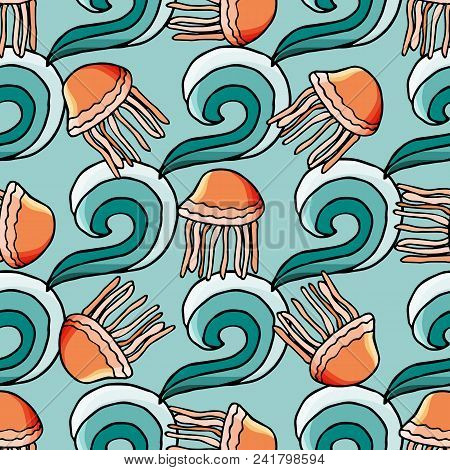 Seamless Pattern With Water Wave And Jellyfish In Cartoon Style. For Web, Print And Textile Design.
