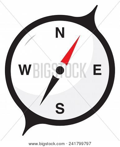 Compass Concept Illustration, White Background Compass Vector