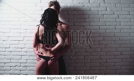 Having sex with hot babe. Sensual young couple making love in bedroom. Erotic games, desire, orgasm, foreplay. poster