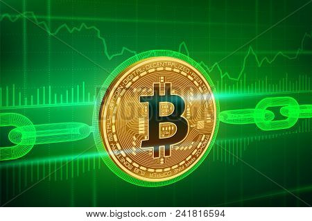Crypto Currency. Block Chain. Bitcoin. 3d Isometric Physical Golden Bitcoin With Wireframe Chain. Bl