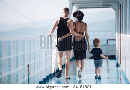 Mother And Father With Son In Sea Trip. Family Ship Travel With Kid On Mothers Or Fathers Day. Child