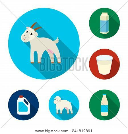 Milk Product Flat Icons In Set Collection For Design.milk And Food Vector Symbol Stock  Illustration