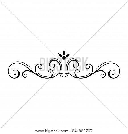Decorative Page Divider. Swirls, Floral Frame. Ornamental Border. Callirgaphic Flourish Scroll Desig