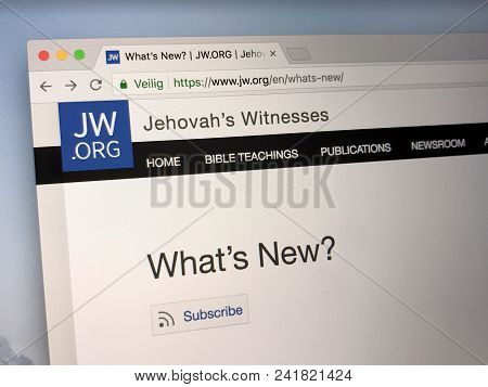 Amsterdam, Netherlands - May 21 2018: Official Homepage Of The Jehovah Witness Church.