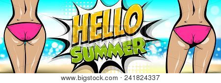 Hawaii Two Woman Pop Art Style Retro Poster. Hello Summer Vacation Tropical Banner. Comic Text Halft