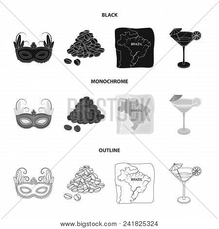 Brazil, Country, Mask, Carnival . Brazil Country Set Collection Icons In Black, Monochrome, Outline