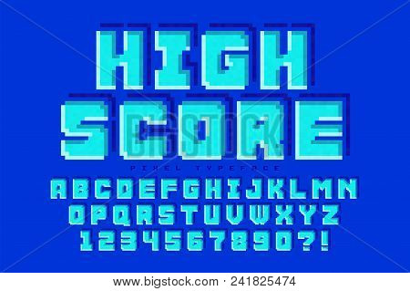 Pixel Vector Font Design, Stylized Like In 8-bit Games. High Contrast, Retro-futuristic. Easy Swatch