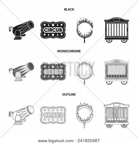 Circus Trailer, Circus Gun, Burning Hoop, Signboard.circus Set Collection Icons In Black, Monochrome