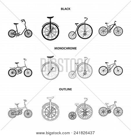 Retro, Unicycle And Other Kinds.different Bicycles Set Collection Icons In Black, Monochrome, Outlin