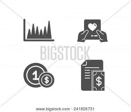 Set Of Line Graph, Usd Coins And Love Mail Icons. Payment Sign. Market Diagram, Cash Payment, Valent