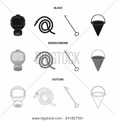 Gas Mask, Hose, Bucket, Bagore. Fire Department Set Collection Icons In Black, Monochrome, Outline S