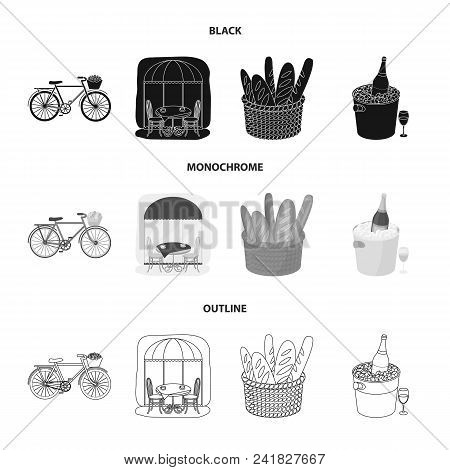 Bicycle, Transport, Vehicle, Cafe .france Country Set Collection Icons In Black, Monochrome, Outline