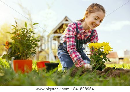 In The Countryside. Delighted Nice Girl Planting Flowers In The Garden While Living In The Countrysi