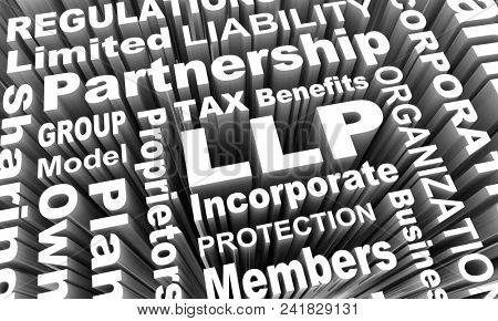 LLP Limited Liability Partnership Business Model Words 3d Render Illustration