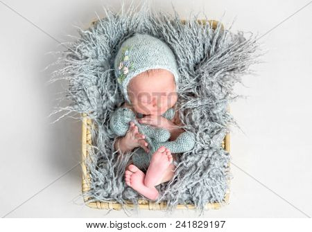 Newborn baby peacefully sleeping in a basket