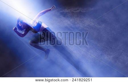Woman sprinter leaving starting. Exploding start poster