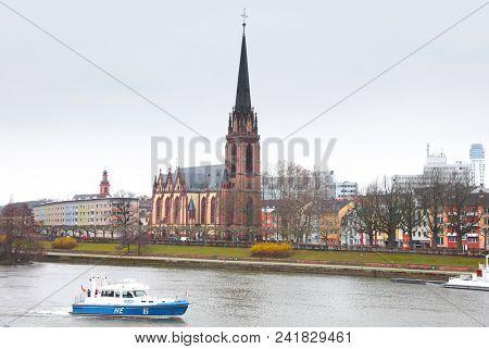 Frankfurt, Germany - 17.March, 2018: Historic church by River Main  at Frankfurt (Main), Germany .