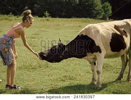 Happy Woman. Woman Farmer, Vet, Dairymaid, Agriculture. Dairy, Milk Production, Industry. Cow, Woman