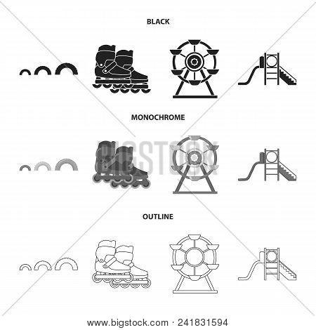 Ferris Wheel With Ladder, Scooter. Playground Set Collection Icons In Black, Monochrome, Outline Sty