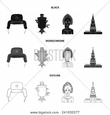 Clothes, Woman, Kremlin, Building .russia Country Set Collection Icons In Black, Monochrome, Outline
