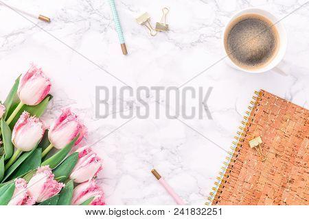 Festive Golden Stationary On White Marble Background. Feminine Job, Gender Equality, Home Office And
