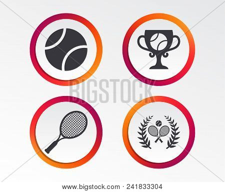 Tennis Ball And Rackets Icons. Winner Cup Sign. Sport Laurel Wreath Winner Award Symbol. Infographic