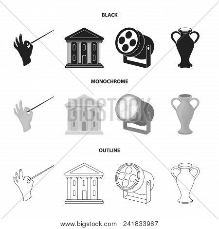 Conductor Baton, Theater Building, Searchlight, Amphora.theatre Set Collection Icons In Black, Monoc