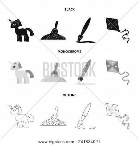 Children Toy Black, Monochrome, Outline Icons In Set Collection For Design. Game And Bauble Vector S