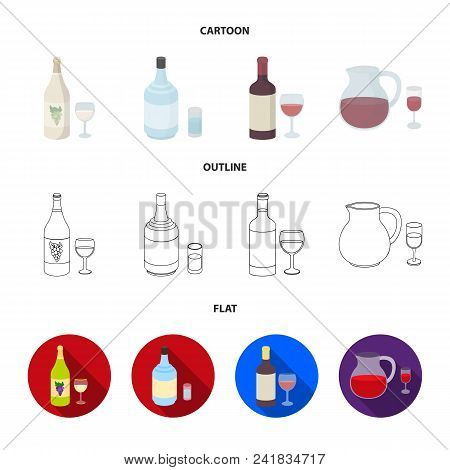 White Wine, Red Wine, Gin, Sangria.alcohol Set Collection Icons In Cartoon, Outline, Flat Style Vect