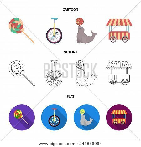 Lollipop, Trained Seal, Snack On Wheels, Monocycle.circus Set Collection Icons In Cartoon, Outline,