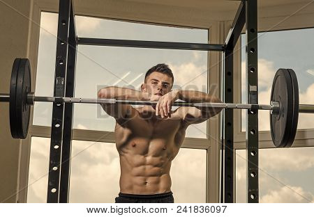 Man Looking At Camera. Handsome Man Face. Sportsman, Athlete With Muscles Looks Attractive. Sport An