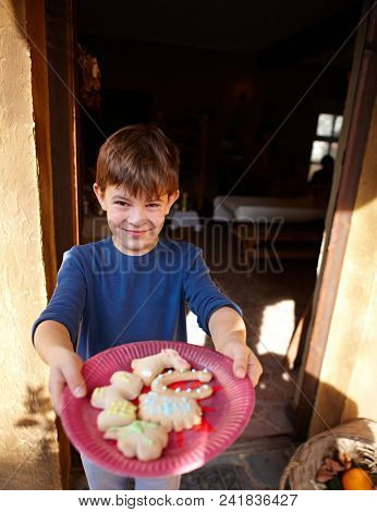 Happy little boy holding a plate with freshly made ginger bread.