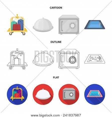 Trolley With Luggage, Safe, Swimming Pool, Clutch.hotel Set Collection Icons In Cartoon, Outline, Fl